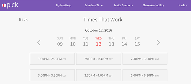 pick meeting app which highlights Times That Work for the user